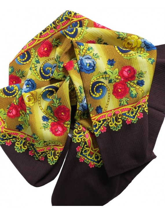 Woollen headscarf or cachené - floral with brown trim