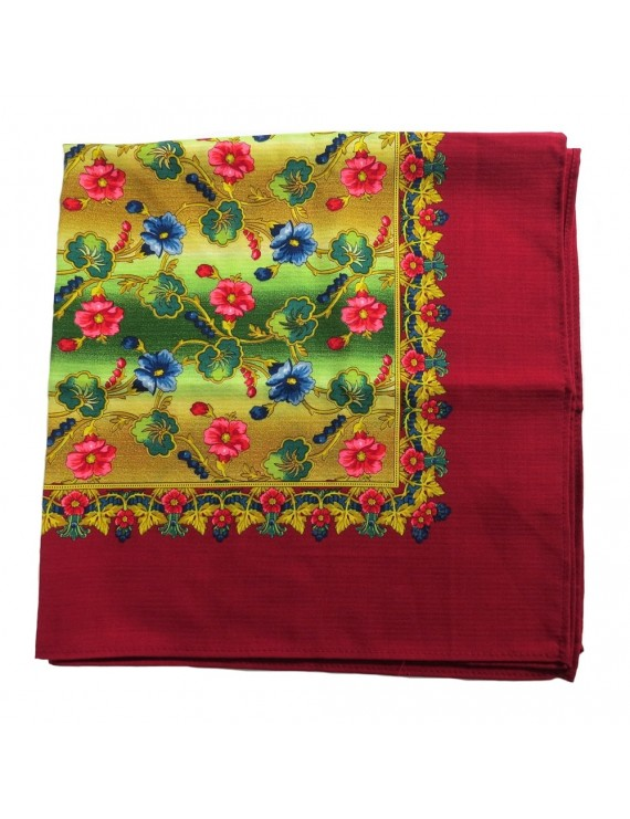 Woollen headscarf or cachené - floral with red trim