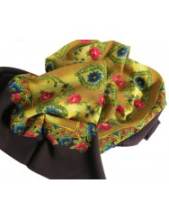 Woollen headscarf or cachené - floral with hearts