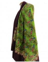 Woollen headscarf or cachené - greeny colour