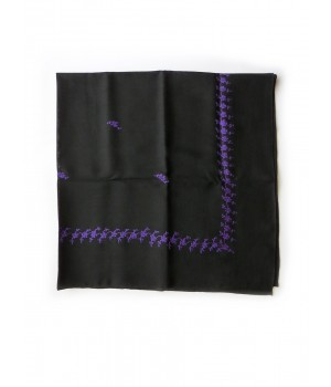 Black woollen kerchief embroidered in purple