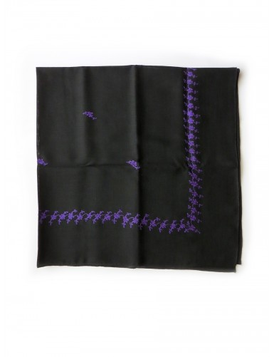 Black woollen kerchief embroidered in purple