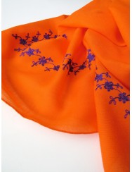 Orange woollen kerchief embroidered in purple