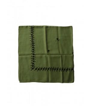 Green woollen kerchief embroidered in black