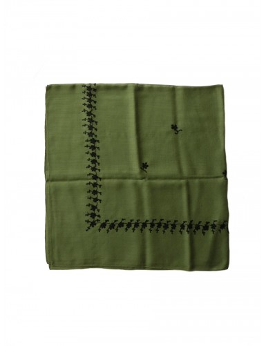 Green woollen kerchief embroidered in black