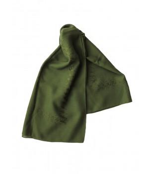 Green woollen kerchief embroidered in green