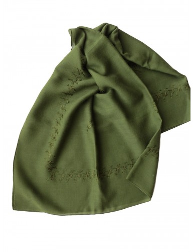 Green woollen kerchief embroidered in green