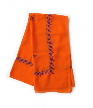 Orange woollen kerchief embroidered in purple