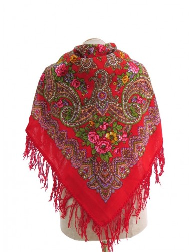 Red woollen kerchief with cornucopia