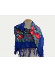 Blue kerchief with roses 100% wool