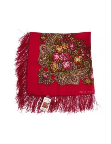Red woollen kerchief with silk fringe