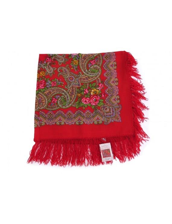 Red woollen kerchief with cornucopia