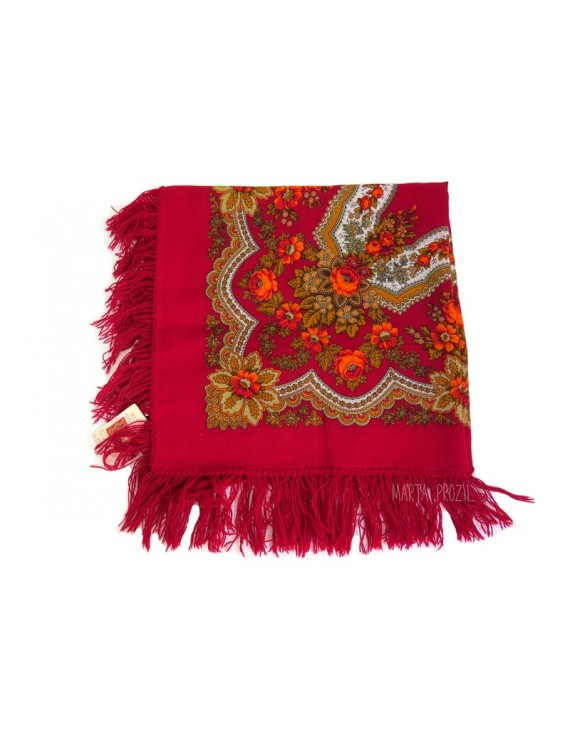 Red and white kerchief with flowers