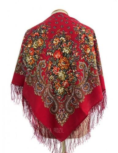Red woollen kerchief with silk fringe