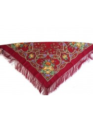 Dark red kerchief with silk fringed 100% wool