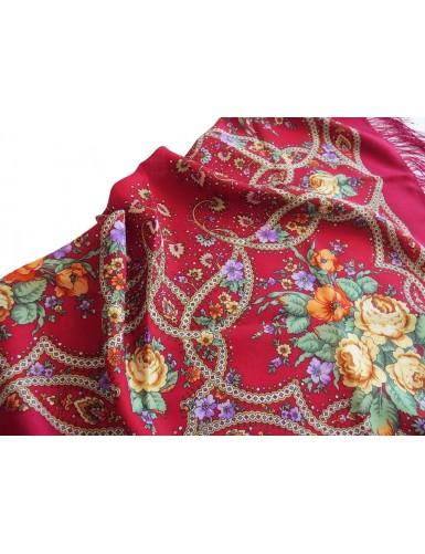 Dark red kerchief with silk fringed 100% wool