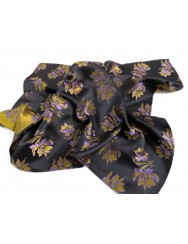 Satin scarf in brocade with lilies