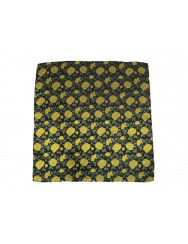 Satin scarf in brocade with golden rose pattern