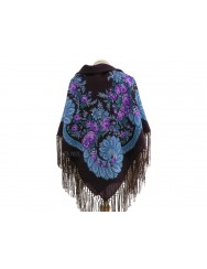 Woolen purple kerchief with cornucopia