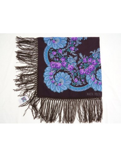Woolen purple kerchief with cornucopia