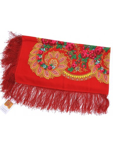 Woollen red kerchief of Viana with silk fringe