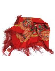 Woollen red kerchief of Viana with silk fringe