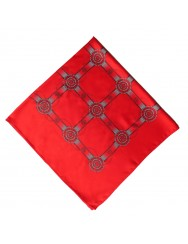 Red scarf with wheel pattern