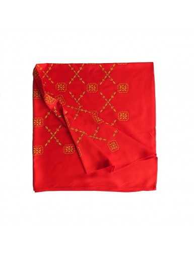 Red scarf with yellow crosses pattern