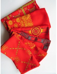 Red scarf with little flowers pattern