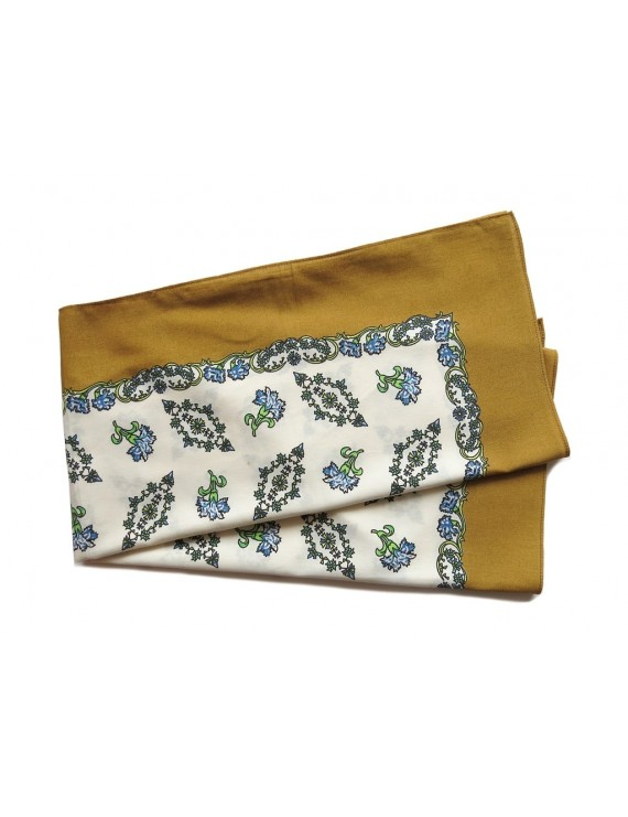 Printed cotton head scarf with brown frame
