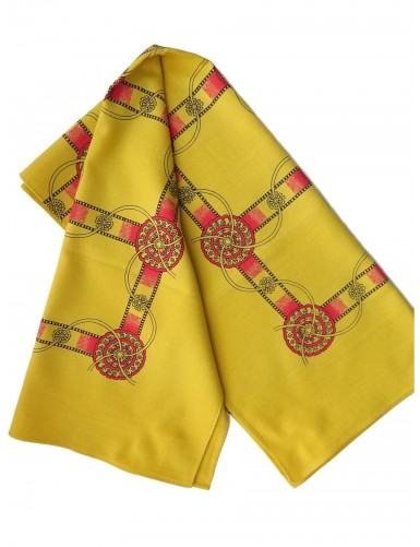 Yellow cotton scarf with wheel pattern