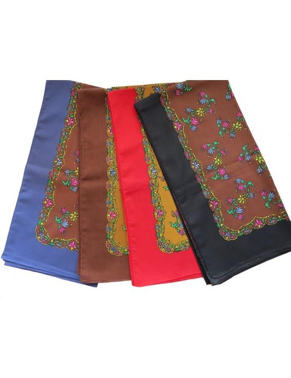 Printed cotton head scarf - multi-colour frame