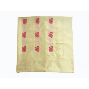 Natural silk scarf - beige wiht roses