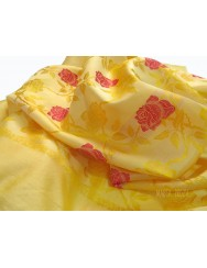 Natural silk scarf - yellow wiht roses