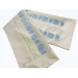 Natural silk scarf - beige and light blue