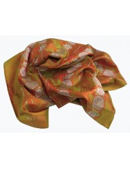 Natural silk scarf - greenish ang brick colour