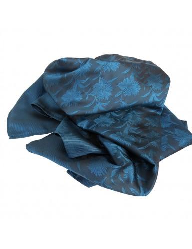 "Natural silk scarf in ""prussian"" blue"