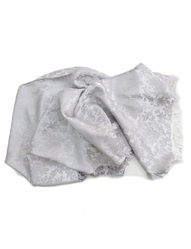 Light gray brocade scarf