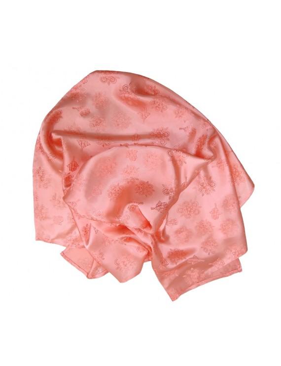 Pink salmon satin scarf