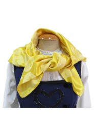 Yellow brocade scarf with roses