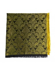 Black and golden brocade scarf with fringes
