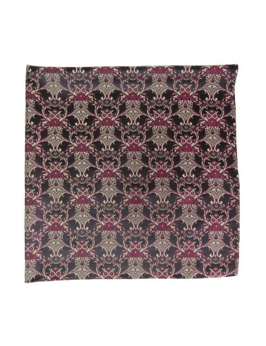 Black mordoma scarf with garnet and silver pattern