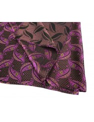 Brocade scarf with small lilac and fuchsia leaves