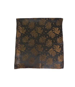 Brocade scarf with golden-brownish bouquet