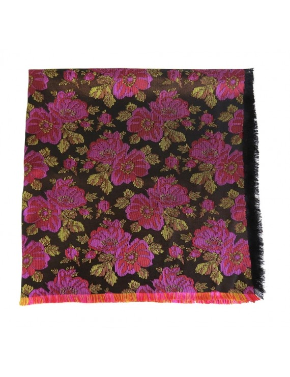 Black brocade scarf with lilac roses
