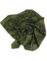 Black mordoma scarf with green and yellow pattern