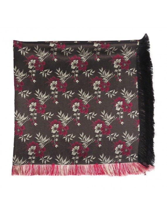 Brocade scarf with garnet flowers and fringes