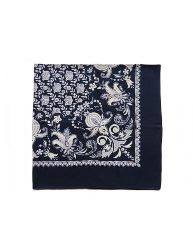 Blue cotton kerchief - floral