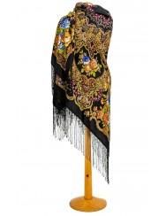 Black shawl with flower mandala