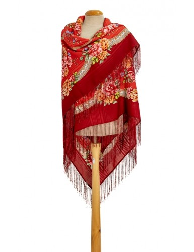 Red shawl with silk fringe